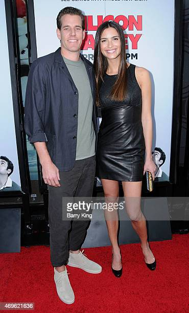 Athlete/actor Cameron Winklevoss and actress Natalia Beber attend the HBO 'Silicon Valley' season 2 premiere at the El Capitan Theatre on April 2...