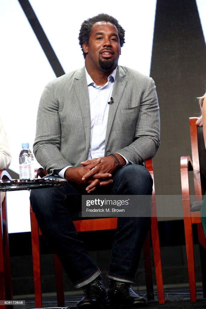 Athlete/investor Dhani Jones of 'Adventure Capitalists' speaks onstage during the NBCUniversal portion of the 2017 Summer Television Critics Association Press Tour at The Beverly Hilton Hotel on August 3, 2017 in Beverly Hills, California.