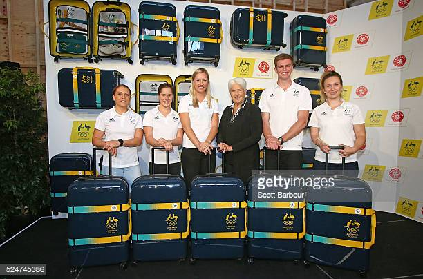 Athletes Alex Hartmann Belinda Hocking Rachel Jarry Melissa Tapper and Shelley Watts pose with Dawn Fraser during the Australian Olympic Games...