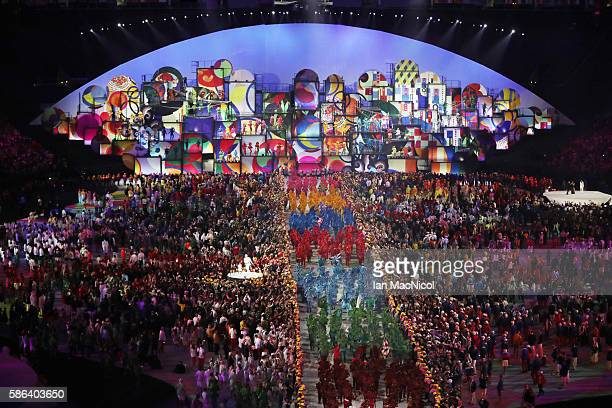 Athletes and artists are seen during The 2016 Summer Olympics Opening Ceremony at Maracana Stadium on August 5 2016 in Rio de Janeiro Brazil