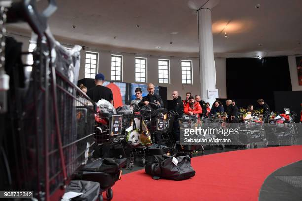 Athletes and their trainers wait in line during the 2018 PyeongChang Olympic Games German Team kit handover at Postpalast on January 22 2018 in...