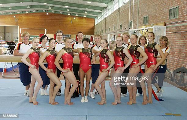 Athletes Anja Brinker Kim Bui Daria Bijak Oksana Chusovitina Joeline Moebius Jenny Brunner Katja Abel and MarieSophie Hindermann pose during the team...