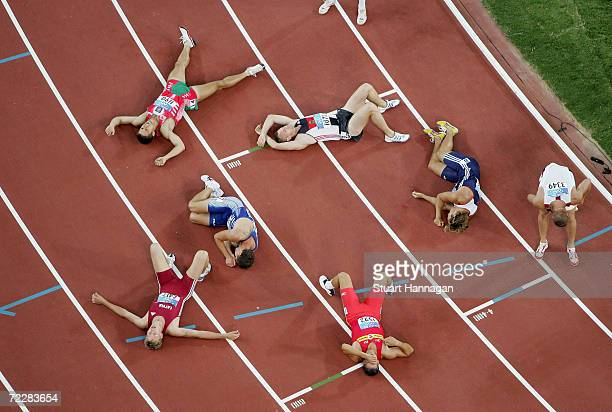 Athletes are seen after the 1500 metre discipline of the men's decathlon on August 24 2004 during the Athens 2004 Summer Olympic Games at the Olympic...