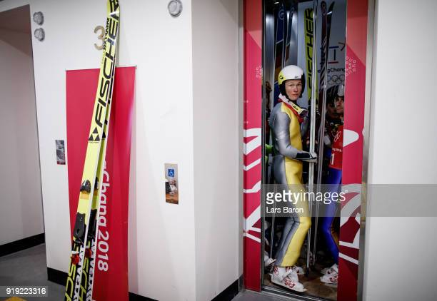 Athletes are seen in a lift during the Nordic Combined official training on February 17, 2018 in Pyeongchang-gun, South Korea.