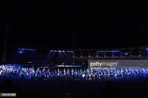 TOPSHOT Athletes arrive for the closing ceremony of the 2018 Gold Coast Commonwealth Games at the Carrara Stadium on the Gold Coast on April 15 2018...