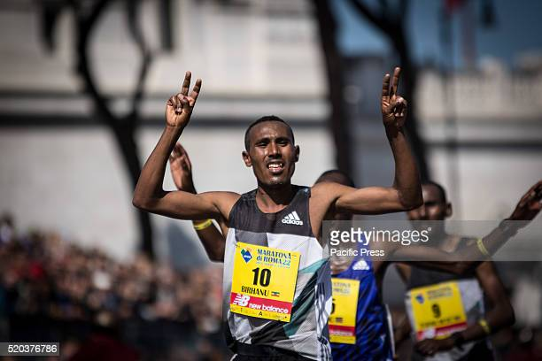 Athletes arrived at the finish line during Rome Marathon 2016 The winners of the marathon in Rome 2016 Kenyan Amos Kipruto was the first to cross the...