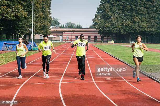 Athletes arrives at Finish line