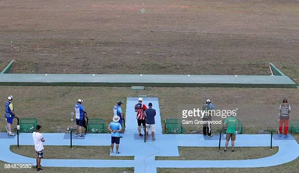 Athletes as seen during a Double Trap practice session at the Olympic Shooting Center on July 31, 2016 in Rio de Janeiro, Brazil.