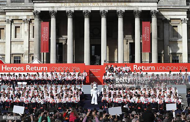 Athletes assemble during the Olympics Paralympics Team GB Rio 2016 Victory Parade at Trafalgar Square on October 18 2016 in London England