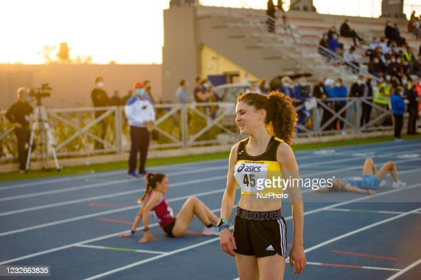 Athletes at the end of the 10,000 meters race at the National Championships in the Mario Saverio Cozzoli stadium in Molfetta on May 2, 2021. In...