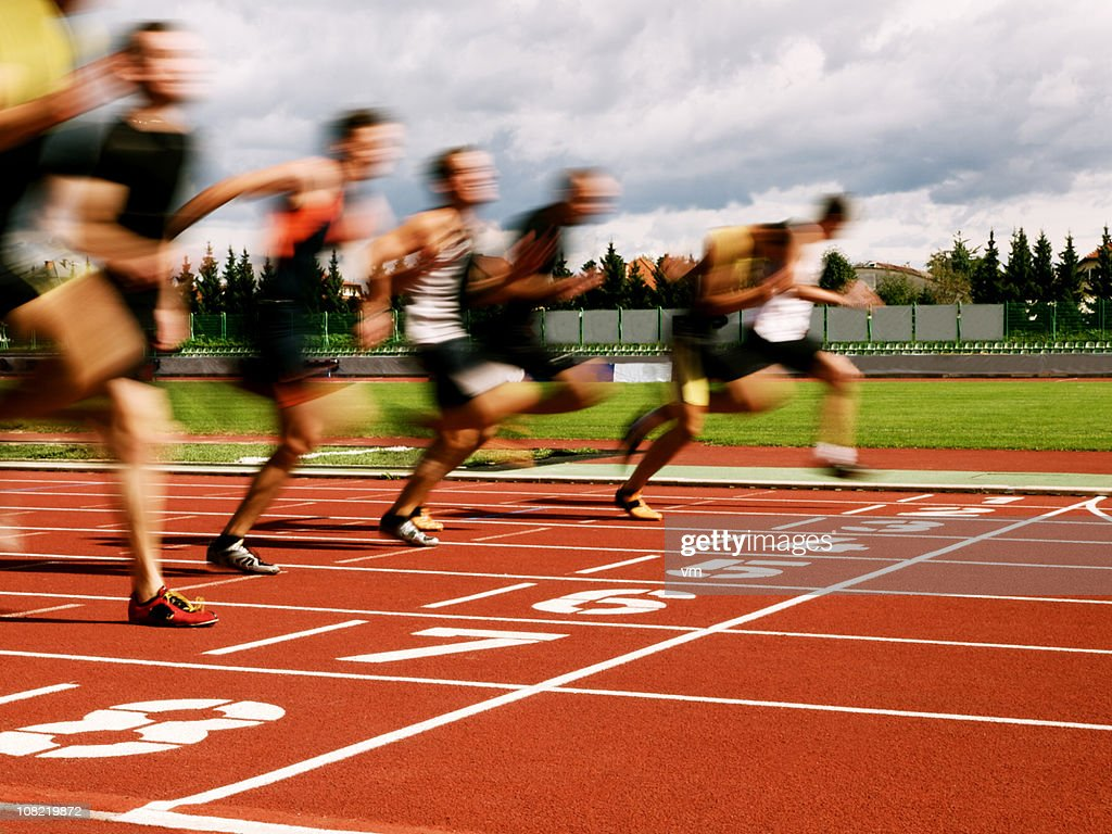 Athletes at the finish line : Stock Photo