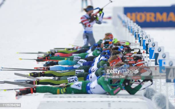 Athletes at the shooting range during the Men's 12.5 KM Pursuit Competition of the IBU World Championships Biathlon 2019 on February 16, 2019 in...