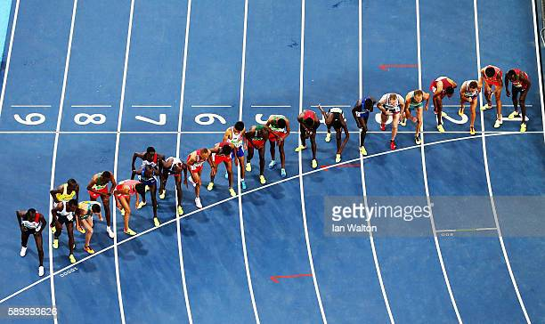 Athletes at the start of the Men's 10000m on Day 8 of the Rio 2016 Olympic Games at the Olympic Stadium on August 13 2016 in Rio de Janeiro Brazil