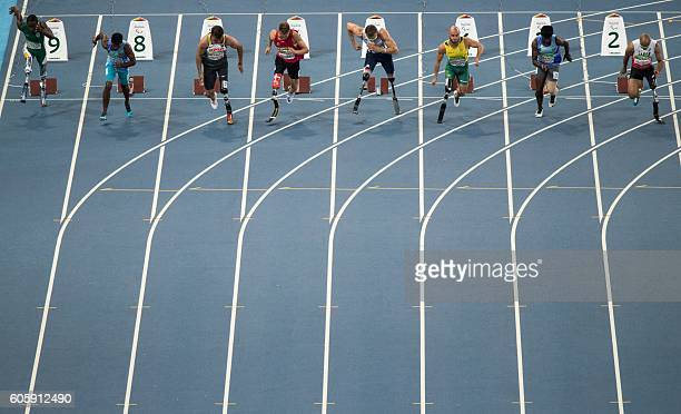 TOPSHOT Athletes at the start of the Men's 100m T42 Final at the Olympic Stadium during the Paralympic Games in Rio de Janeiro Brazil on September 15...