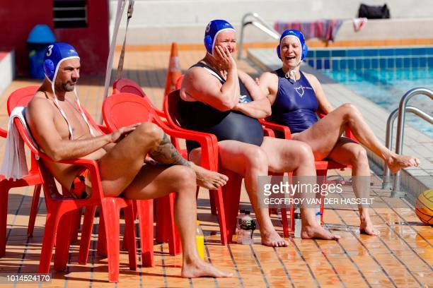 Athletes attend the water polo competition at the 2018 Gay Games edition at The Roger Le Gall swimming pool in Paris on August 10 2018