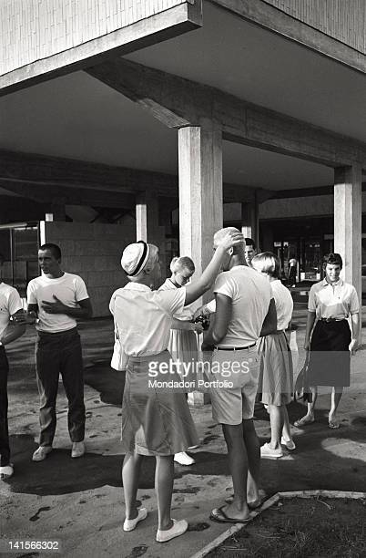 Athletes chatting in Rome's Olympic Village Rome 1960