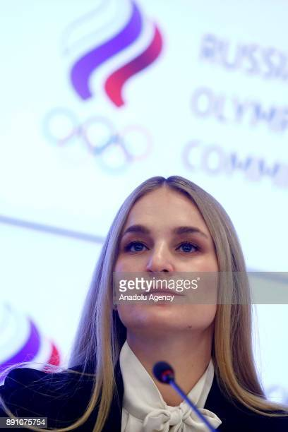 Athletes' Commission Chairwoman Olympic sabre fencing champion Sofya Velikaya gives a news conference following a session of the Russian Olympic...