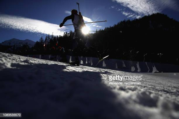 Athletes compete at the 10 km Men's Sprint during the IBU Biathlon World Cup at Chiemgau Arena on January 17 2019 in Ruhpolding Germany