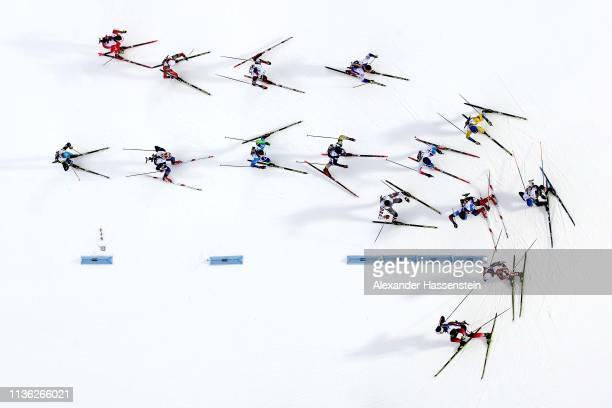 Athletes compete at the IBU Biathlon World Championships Men's Relay at Swedish National Biathlon Arena on March 16, 2019 in Ostersund, Sweden.