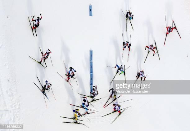 Athletes compete at the IBU Biathlon World Championships Men's Relay at Swedish National Biathlon Arena on March 16 2019 in Ostersund Sweden