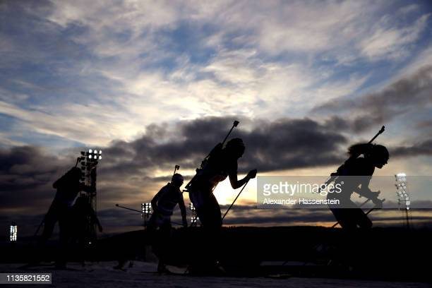 Athletes compete at the IBU Biathlon World Championships Single Mixed Relay at Swedish National Biathlon Arena on March 14, 2019 in Ostersund, Sweden.