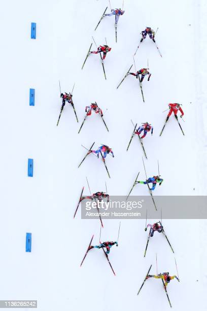 Athletes compete at the IBU Biathlon World Championships Women's Relay at Swedish National Biathlon Arena on March 16 2019 in Ostersund Sweden