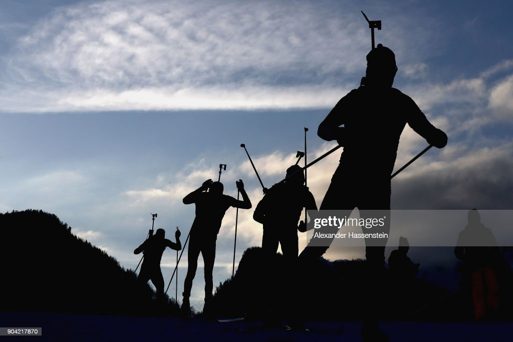 Athletes compete at the men's 7,5km relay competition during the IBU Biathlon World Cup at Chiemgau Arena on January 12, 2018 in Ruhpolding, Germany.
