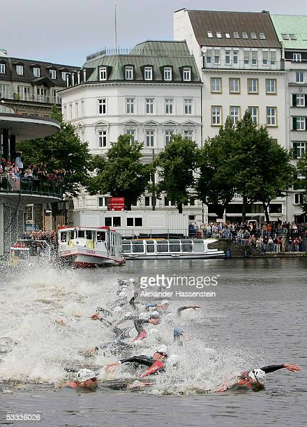 Athletes compete at the start at the Binnenalster to the Holsten City Man Elite Triathlon on August 7 2005 in Hamburg Germany