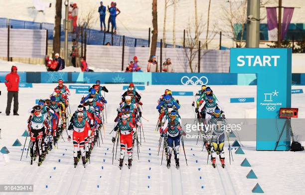 Athletes compete at the start of the Ladies Cross Country Skiing 75km 75km Skiathlon on day one of the PyeongChang 2018 Winter Olympic Games at...
