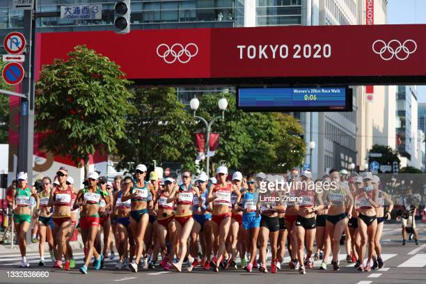Athletes compete at the start of the Women's 20km Race Walk on day fourteen of the Tokyo 2020 Olympic Games at Sapporo Odori Park on August 06, 2021...