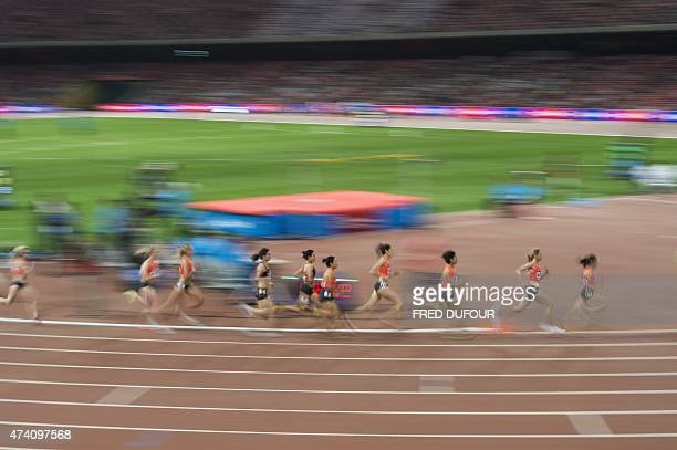 Athletes compete at the Women's 1500m at the IAAF World Challenge held at the National Olympic Stadium or 'Birds Nest' in Beijing on May 20, 2015....