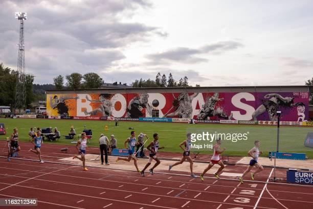 Athletes compete during 1500m Men Decathlon on July 20, 2019 in Boras, Sweden.