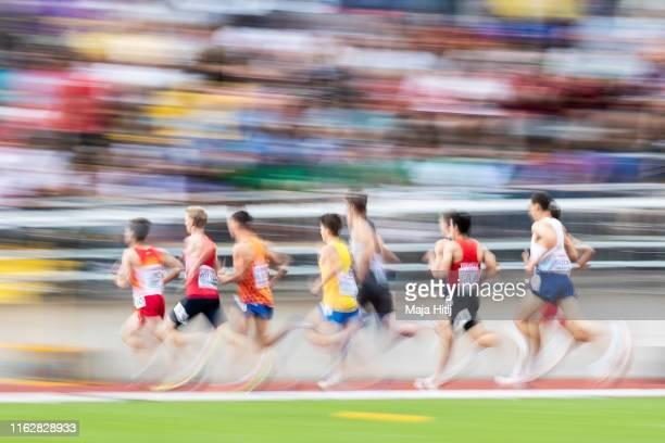 Athletes compete during 1500m men Round 1 heat 2 on July 18, 2019 in Boras, Sweden.