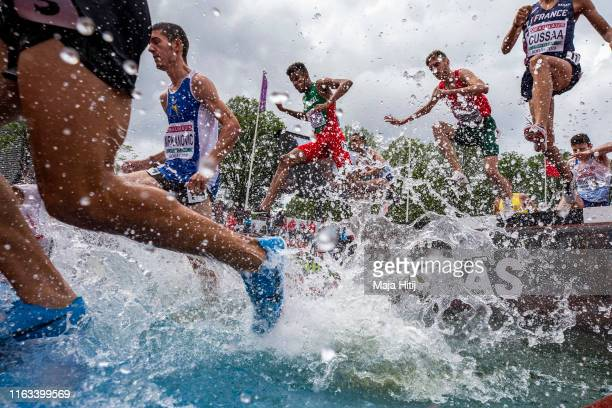 Athletes compete during 3000m Steeplechase Men on July 21, 2019 in Boras, Sweden.