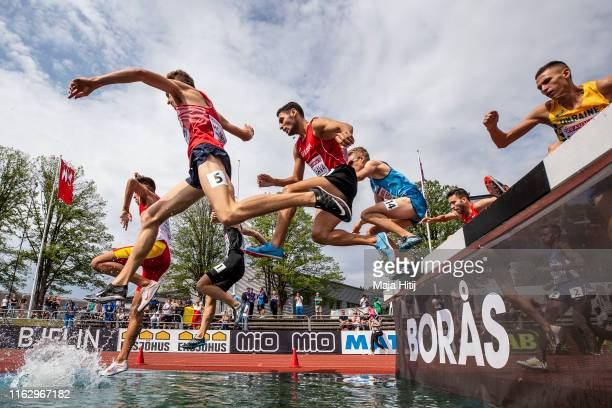 Athletes compete during 3000m Steeplechase Men Round 1 on July 19 2019 in Boras Sweden