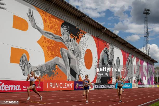 Athletes compete during 400m Women Round 1 on July 18 2019 in Boras Sweden