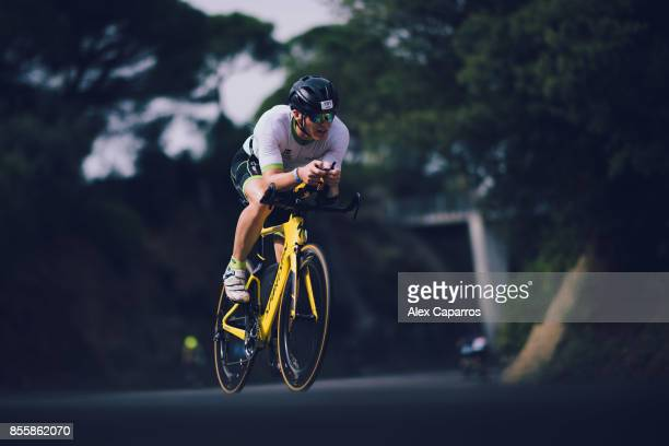 Athletes compete during biking course of the IRONMAN Barcelona on September 30 2017 in Calella Barcelona province Spain