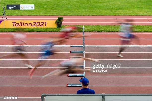 Athletes compete during Men's 110m Hurdles Round 1 during 2021 European Athletics U23 Championships - Day 2 at at Kadriorg Stadium on July 9, 2021 in...