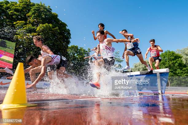 Athletes compete during Men's 3000m Steeplechase Final on day four of the 2021 European Athletics U23 Championships at Kadriorg Stadium on July 11,...
