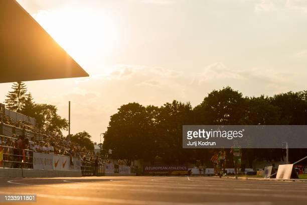 Athletes compete during Men's 5000m Final during 2021 European Athletics U23 Championships - Day 3 at at Kadriorg Stadium on July 10, 2021 in...