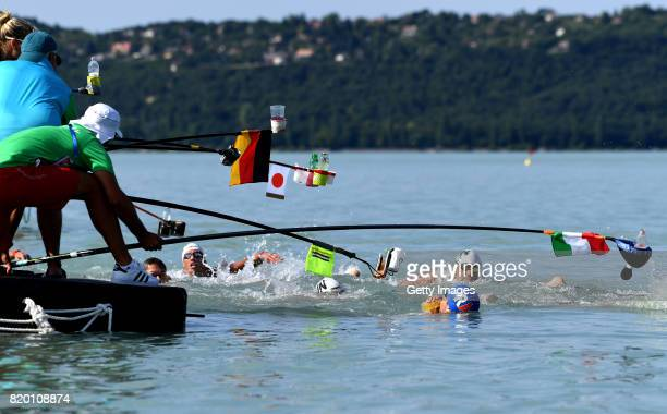 Athletes compete during Mens Open Water 25km Final on day eight of the Budapest 2017 FINA World Championships on July 21 2017 in Budapest Hungary