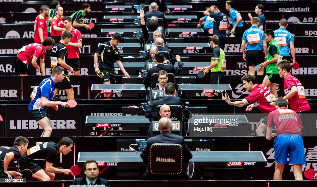 Athletes compete during qualification at Table Tennis World Championship at Messe Duesseldorf on May 30, 2017 in Dusseldorf, Germany.