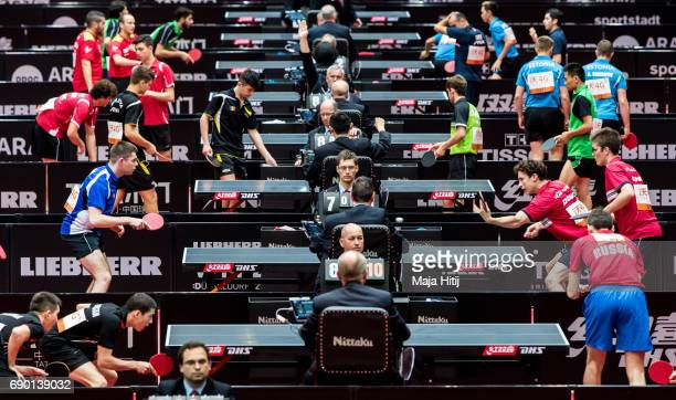 Athletes compete during qualification at Table Tennis World Championship at Messe Duesseldorf on May 30 2017 in Dusseldorf Germany