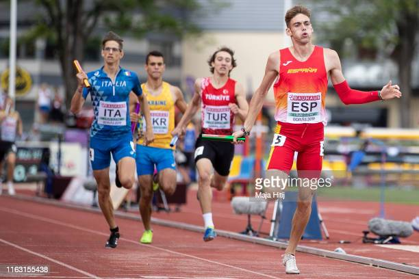 Athletes compete during qualifying rounds of 4 x 400m Relay Men on July 20, 2019 in Boras, Sweden.