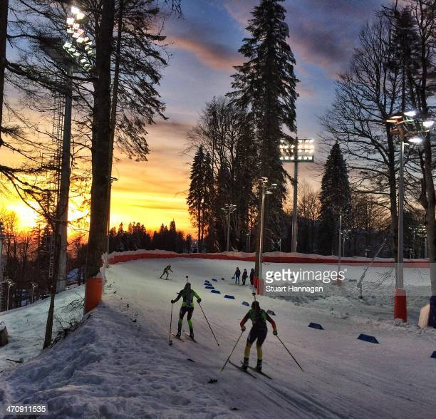 Athletes compete during the 2 x 6 km Women 2 x 7 km Men Mixed Relay during day 12 of the Sochi 2014 Winter Olympics at Laura Crosscountry Ski...