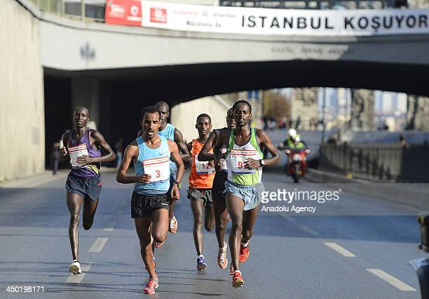 Athletes compete during The 35th Istanbul Marathon on November 17 2013 in Istanbul Turkey Around 20000 athletes compete in the races of the event...