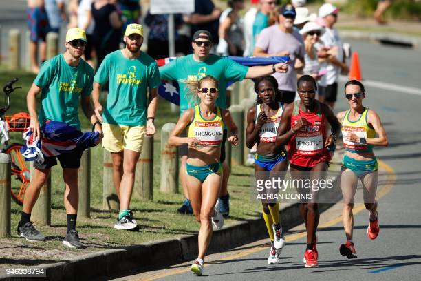 Athletes compete during the athletics women's marathon final during the 2018 Gold Coast Commonwealth Games at the Southport Broadwater Parklands...