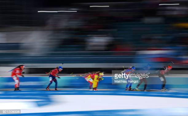 Athletes compete during the Biathlon 2x6km Women 2x75km Men Mixed Relay on day 11 of the PyeongChang 2018 Winter Olympic Games at Alpensia Biathlon...