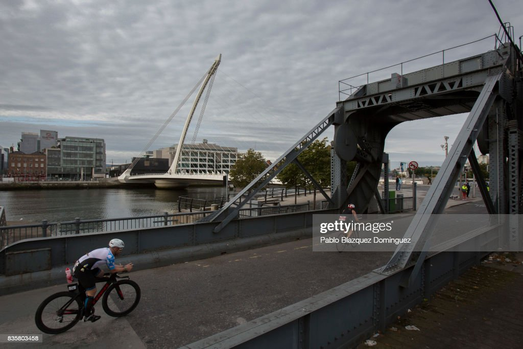 Athletes compete during the bike leg of IRONMAN 70.3 Dublin on August 20, 2017 in Dublin, Ireland.