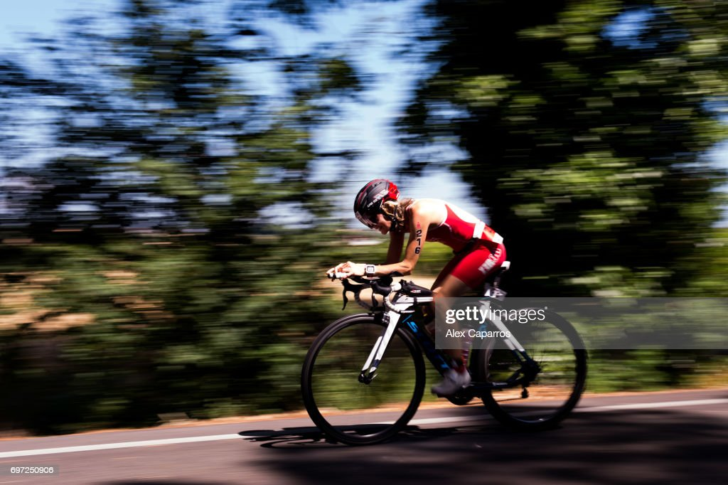 Athletes compete during the bike leg of Ironman 70.3 Italy race on June 18, 2017 in Pescara, Italy.